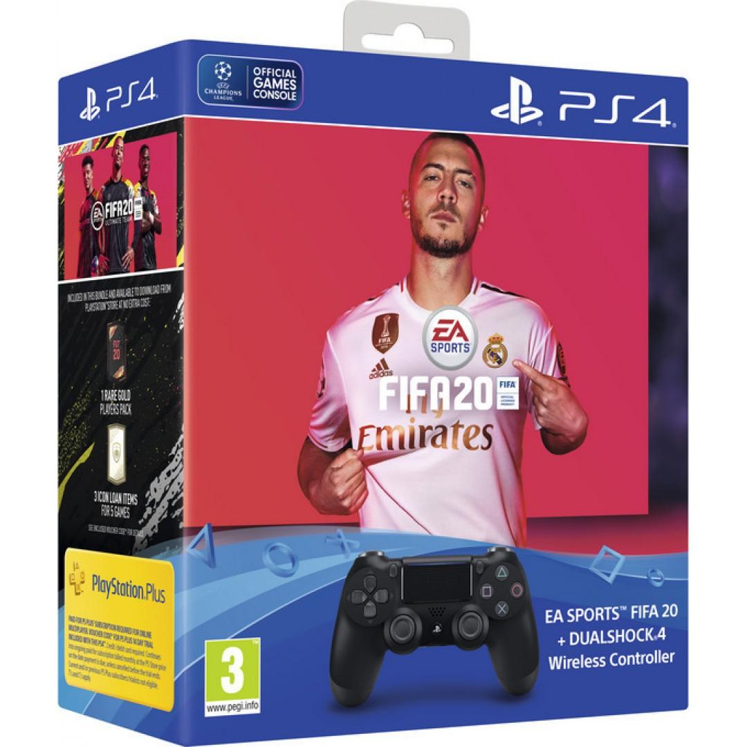 Sony DualShock 4 Controller Black V2 & FIFA 20